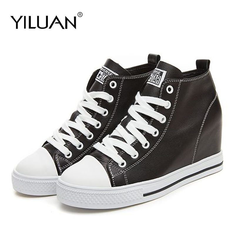 Yiluan women heels Fashion Lady Casual White Shoes Women Sneaker Black Leisure Thick Soled Shoes Pumps student Lace Up Soft