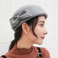 Classic Women Wool Bow Beret Hat Pure Wool Felt Fedora Cap British Ladies Fashion New Autumn Grey Black Bowler Winter Fedora Hat