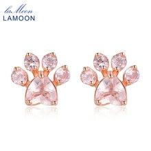 LAMOON 925 sterling-silver-jewelry Bearfoot 100% Natural Gemstone Rose Quartz Rose Gold Stud Earrings for Women Pink EI040