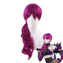 A agonia abraça k/da evelynn avermelhado violeta peruca longa cosplay traje kda feminino resistente ao calor perucas de cabelo sintético