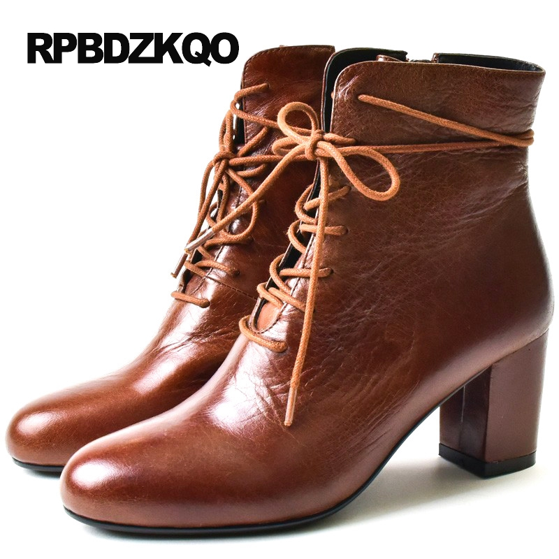 High Heel Fall Round Toe Winter Brown Autumn Shoes Front Lace Up Casual Ankle Boots Women Retro Fur Booties Genuine LeatherHigh Heel Fall Round Toe Winter Brown Autumn Shoes Front Lace Up Casual Ankle Boots Women Retro Fur Booties Genuine Leather