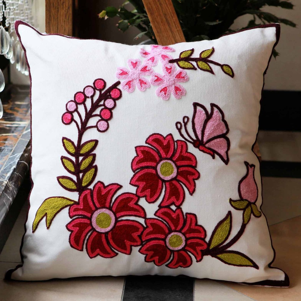 Flowers cotton handmade embroid sofa cushion cover decorative hotel show pillow case wholesale price discount 1818inch in cushion cover from home garden