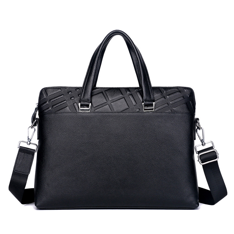 New Luxury 100% Cow Genuine Leather Business Men's Briefcase Shoulder Bag Real Leather Men Striped Messenger Tote Computer Bag