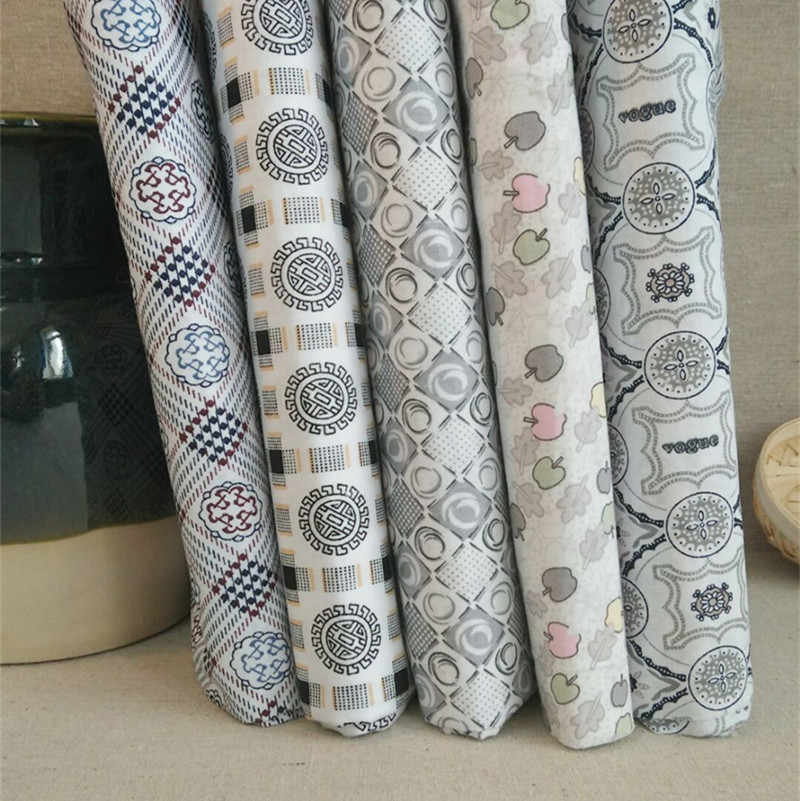 5Pcs 25cmx25cm Grey Random Non-repeating design Cotton Printed Fabric for Patchwork Needlework Handmade Material