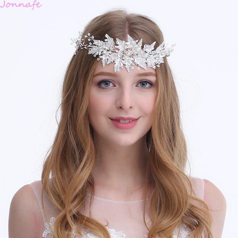 цена на Jonnafe Charming Silver Leaf Bridal Tiara Headband Wedding Crown Tiny Beaded Hair Accessories Ornament For Women