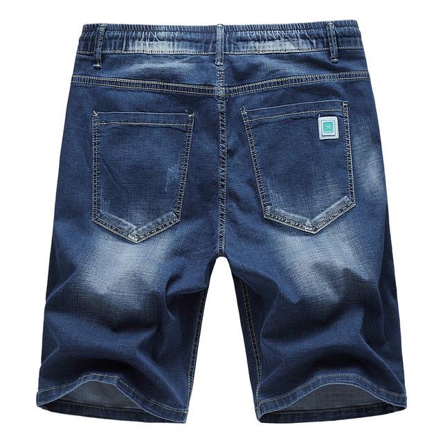 MOGU Elastic Waist Denim Shorts For Men 2020 Summer New Fashion Hole Shorts Jeans Casual Shorts Men Plus Size 6XL Men's Shorts