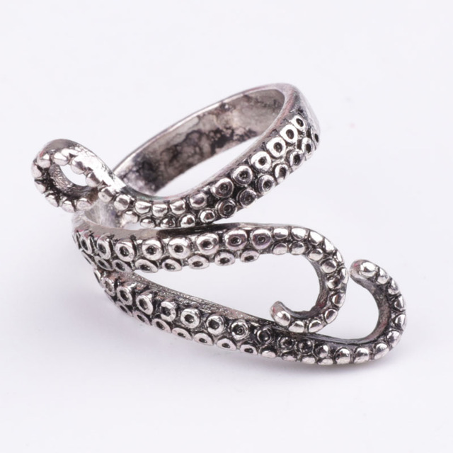 2016 New Punk Style Titanium Steel Octopus Sea Monster Squid Kraken Antique Ring Unisex Men Women Ring Free Shipping