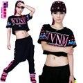 New fashion Jazz harem women top loose ultra-short t-shirt neon doodle hip hop  dance costume t-shirt
