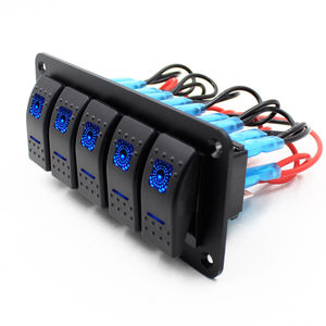 12V-24V 5 Gang Blue Rocker Swi