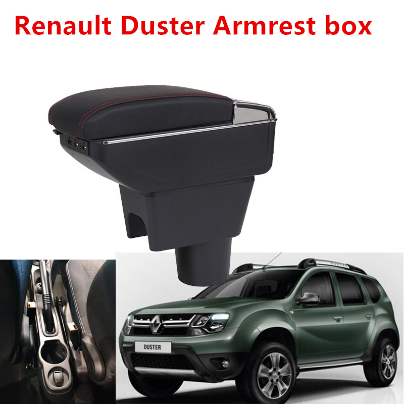 For Renault Duster Armrest box central Store content DUSTER armrest box with cup holder ashtray with USB interface    For Renault Duster Armrest box central Store content DUSTER armrest box with cup holder ashtray with USB interface