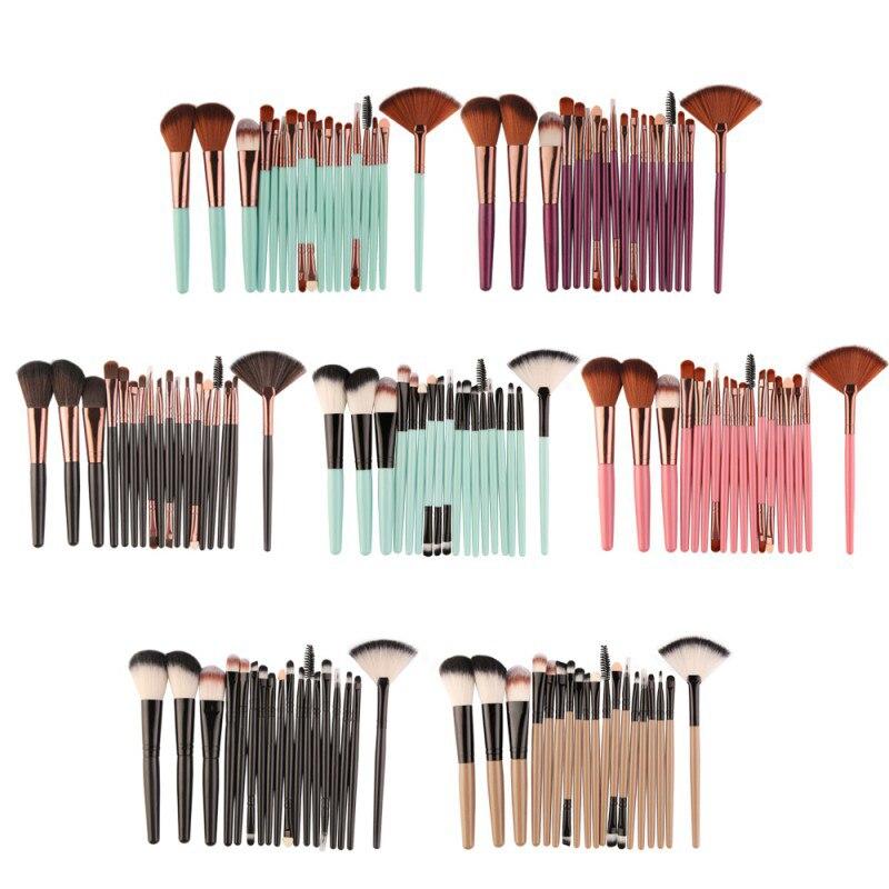 6 colores MAANGE profesional 18 piezas de los cepillos conjunto Fundación polvo Blush sombra delineador de ojos labios cepillo herramienta cosmética