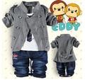 2016 primavera bebé ropa de chicos 0-3 años de doble botón largo de tres piezas de ropa set niños ropa childre ropa set