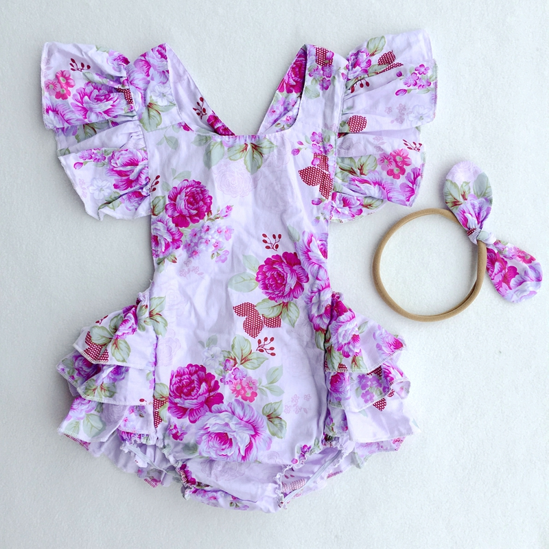 Wholesale New Arrive Baby Boutique Vintage Floral Romper