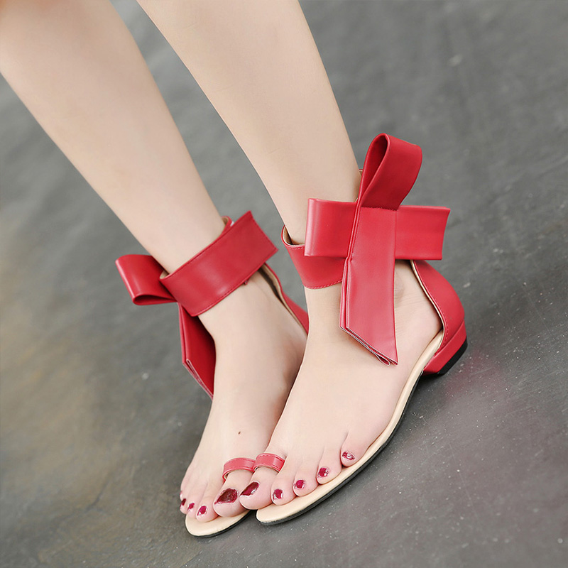 BYQDY Sexy Woman Summer Sandals Big Bowknot Low Heels Open Peep Toe Shoes Cover Banquet Size 35-40