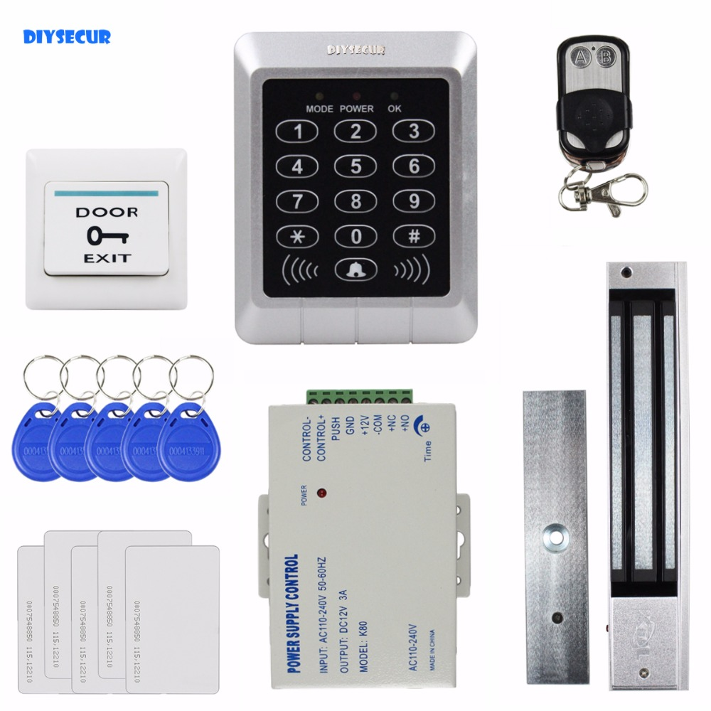 DIYSECUR Remote Control Diy Full Complete Rfid Card Door Access Control Kit + 280KG Magnetic Lock For Home /  Office animal dolls complete diy kit assorted
