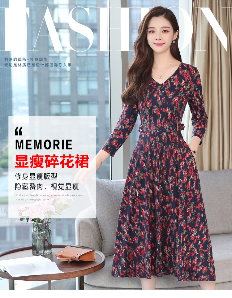 Autumn Winter New 3XL Plus Size Vintage Midi Dresses 2018 Women Elegant Bodycon Floral Dress Party Long Sleeve Runway Vestidos 11
