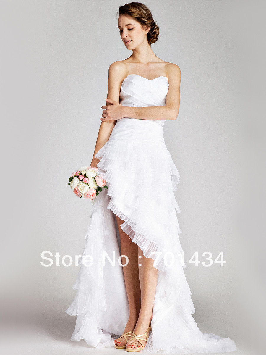 Asymmetric Hem Sexy Bridal Wedding Dress Summer Beach Short Front Back Long In Dresses From Weddings Events On Aliexpress