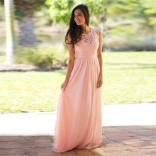 Lace Top Elegant Bridesmaid Dresses Jewel Sleeveless Wedding Guest Dress Zipper Back Floor Length Chiffon Cheap Formal Gowns