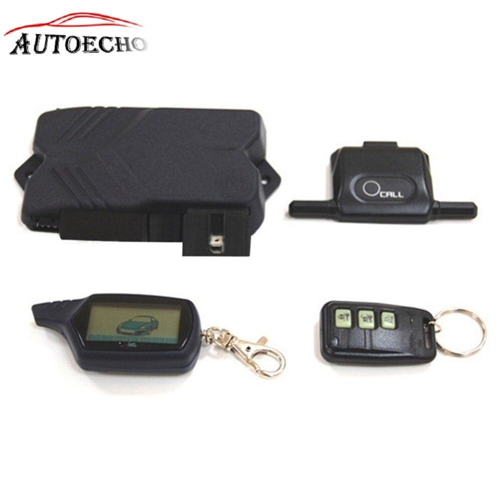 Russe Version Accessoires + Moteur Autostart LCD Télécommande + Tamarack Clé Cas Deux Voies Système D'alarme de Voiture Twage Pour starline B9