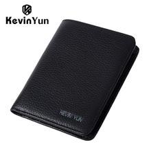 KEVIN YUN Designer Brand Men Wallets Genuine Leather Purse Wallet Luxury Male Small Pocket Wallet