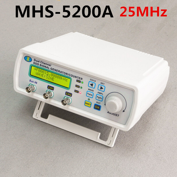 MHS-5200A High Precision Digital DDS Dual-channel Signal Source Generator Arbitrary Waveform Frequency Meter 200MSa/s 25MHz