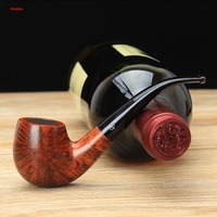 NewBee Handmade Briar Wood 3 Colors Apple Style 9mm Activated Carbon Bent Mouthpiece Pipe Free 10