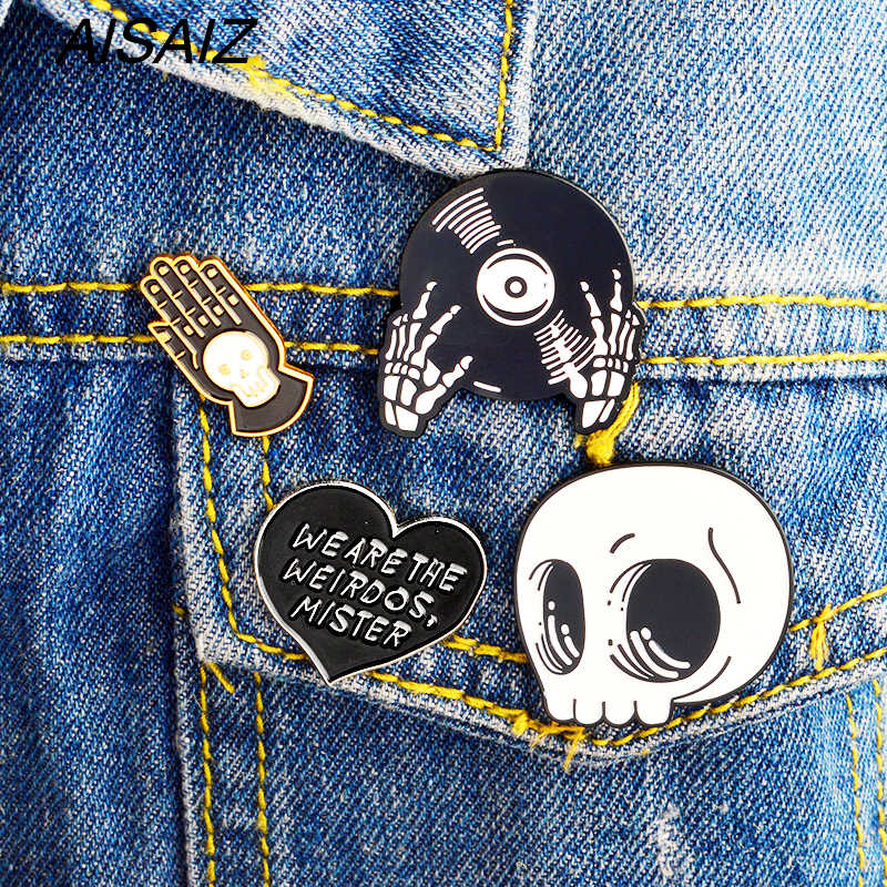 2018 Halloween Baru Acrylic Tengkorak Tangan Bros Pin Set Enamel Kerah Pin Lencana Homme Bros Aksesoris Pakaian