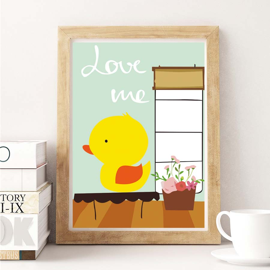 Cartoon Cute Duck Flower Love Me Quote Canvas Art Print Poster ...