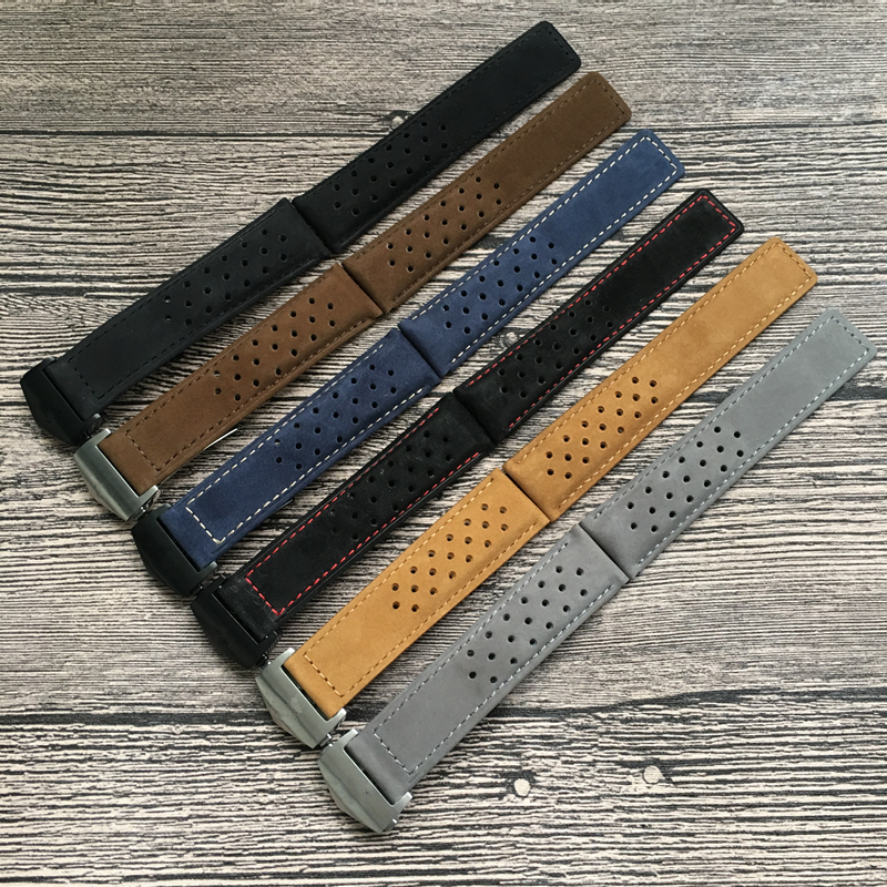 LUKENI 22mm 24mm Véritable Bracelet En Cuir Noir Brun Bleu Gris Bracelets Pour TAG Heuer Carrera LIEN MONACO AQUARACER Ceinture