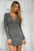 SALI Sexy Women Lace Up Long Sleeved Elasticity Cotton Dresses Bodycon Mini Dress Mini Dress Grey
