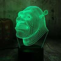 Cartoon Shrek 3D LED Visual Night Lights for Kids USB Table Lamp Baby Sleeping Night light Birthday Christmas Gift Home Decor