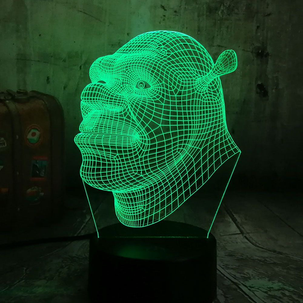 New 2019 Shrek Lamp LED 3D Visual Led Night Lights For Kids Touch USB Table Lampara As Besides Lampe Baby Sleeping Night Light