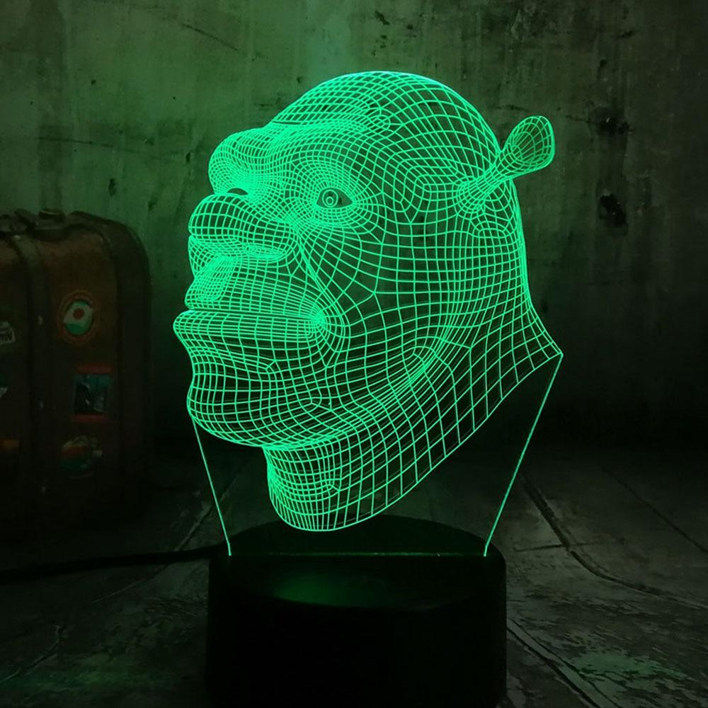 Nouveau 2019 Shrek Lampe LED 3D visuel LED veilleuses pour enfants tactile USB Table Lampara comme d'ailleurs Lampe bébé nuit lumière