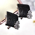 Women Deluxe Newest Style Butterfly Stud Earrings Top Quality Geometric design for Party Wedding Jewelry New Black earrings