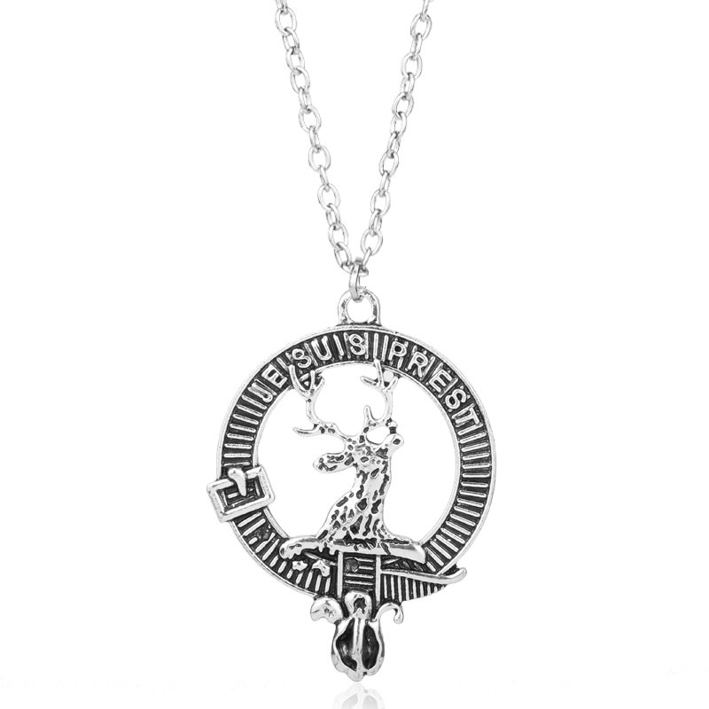 Theme Outlander Scottish Kilt Deer Pendant Necklace for Female Alloy Chain Necklace Vintage Jewelry