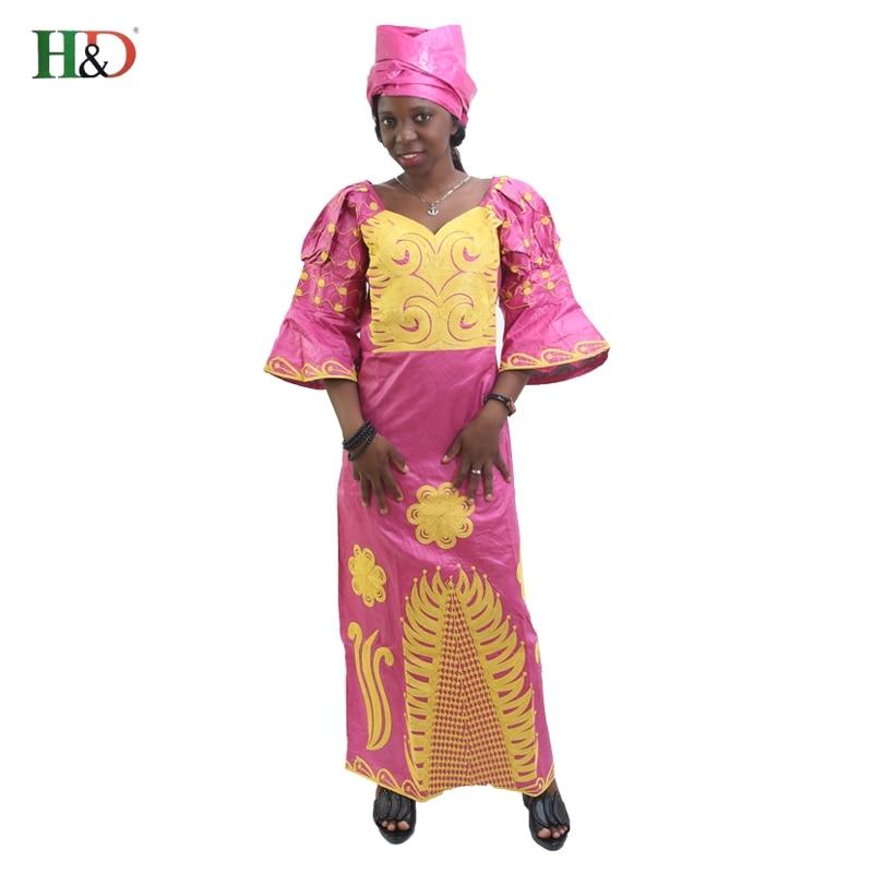H&D მთლიანი აფრიკის რიშე ბაზინის კაბები ქალთა მოდის დიზაინით Bazin Riche ქალბატონის ტრადიციული Maxi Dress Fabric Dashiki სქელი ხაზები