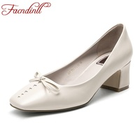 FACNDINLL New 2018 Spring Genuine Leather Women Pumps Med Heels Square Toe Shoes Woman Dress Party