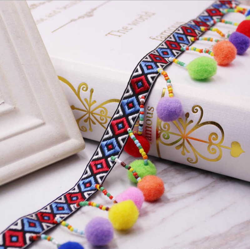 Beads Tassel Lace Trim Bohemian Style Ribbon Pompom Trim Sewing On Clothes Shoes Bag Gift Crafts Accessories Fringe Braid Ribbon