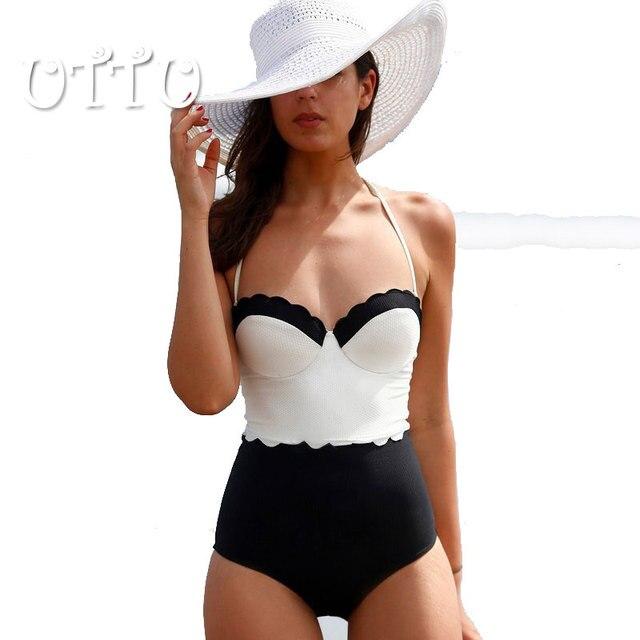 2016 de la alta calidad Push Up blanco y negro una pieza trajes de baño mujeres Floral Patchwork traje de baño atractivo más tamaño playa del traje de baño
