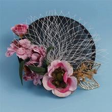 Classic Black VEil Fascinator Top Hat Fashion Flower Mesh Flower Sinamay Headpiece Golden Leaves Ladies Party Hairclip Headdress