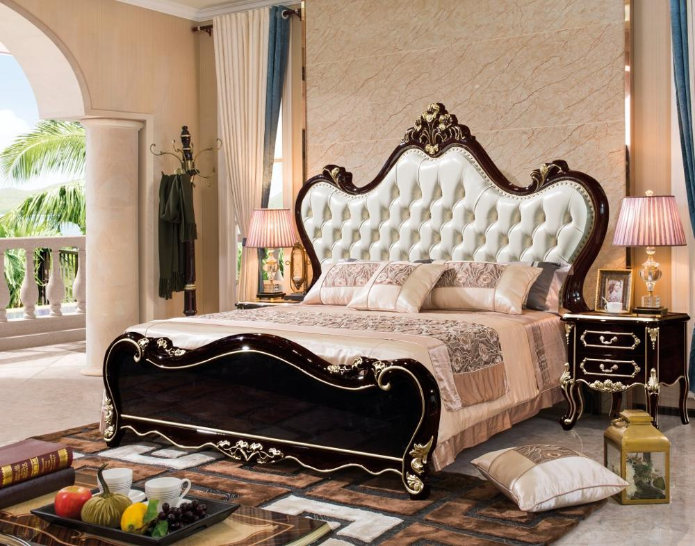 Modern European Solid Wood Bed Fashion Carved  1.8 M Bed  French Bedroom Furniture DNA2101