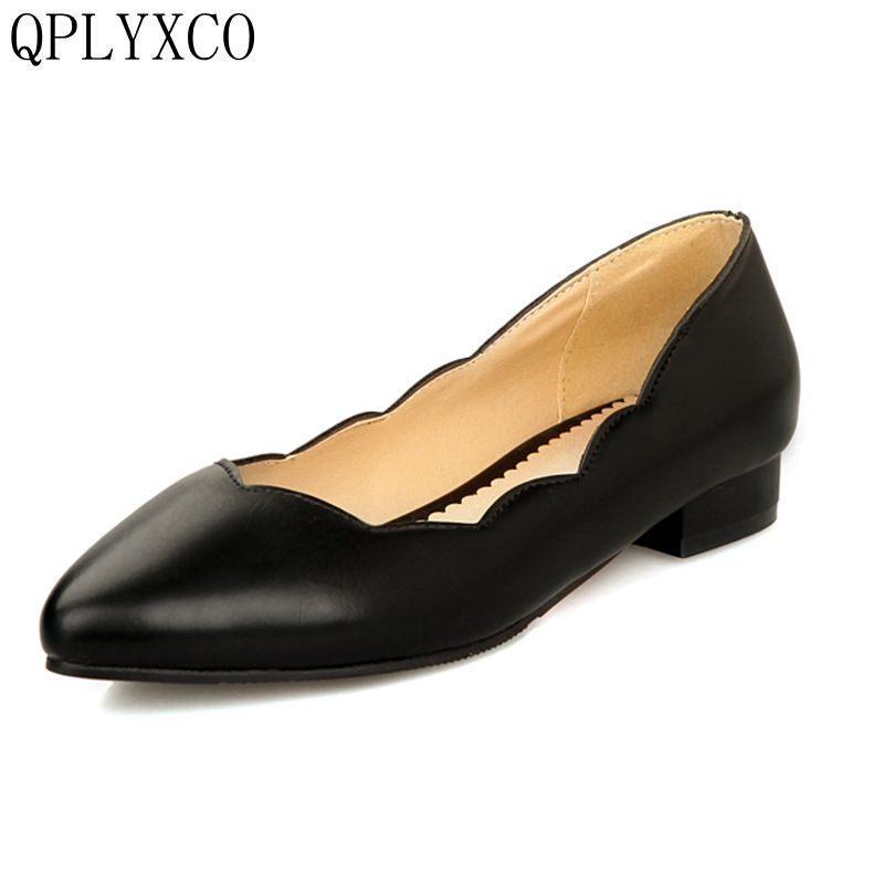 QPLYXCO 2017 New Big &Small Size 28-52 New Flat shoes Women Ballet Shoes Girls Retro Shoes Women Pointed Toe Casual Shoes 277 free shipping new chic metal pointed closed toe transparent shiny pointed ballet flat shoes women s shoes sjl167
