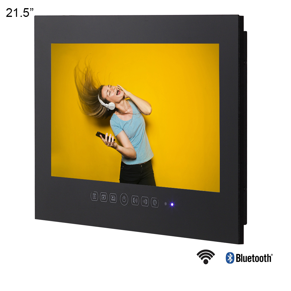 Souria 21.5 Inches Smart Bathroom LED Waterproof Luxury TV With Bluetooth Frameless Shower 1080P Black