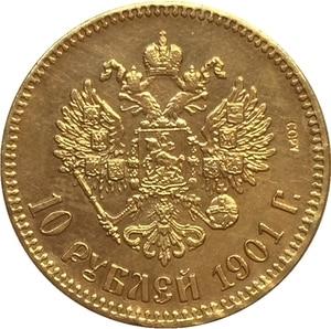 Золотая монета, 24-каратная, покрытая золотом, 1901 рупий