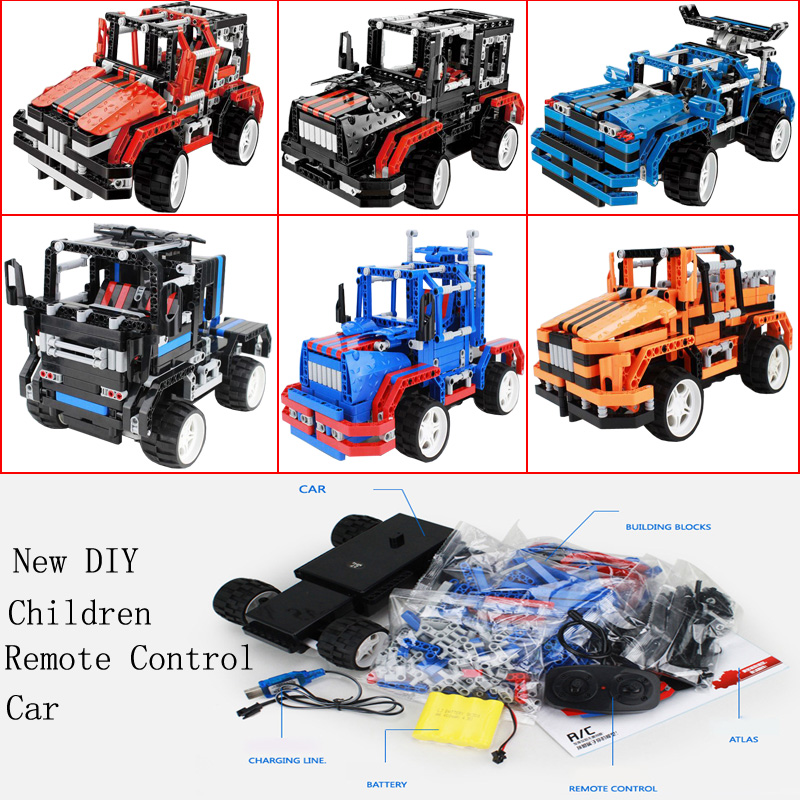 2017 New DIY Splicing Remote Control Car Toys Puzzle Educational Birthday Christmas Party Gift Children s Toys