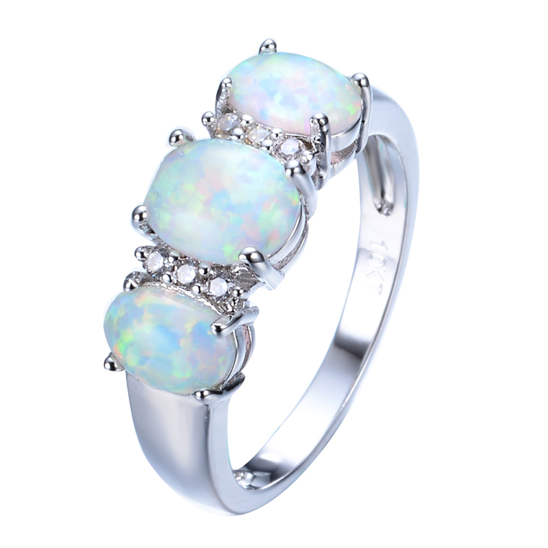 Vintage 3 Stone Band Rainbow Fire Opal Ring Men Women White Zircon