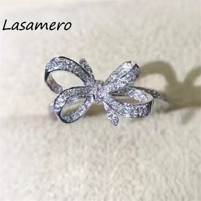 LASAMERO 0.176CT Round Cut Bowknot Ring For Women Accents 18k Gold Naturall Diamond Enga ...
