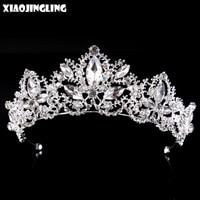 XIAOJINGLING Rhinestone Tiaras Bridal Crown Headband Women Headpiece Floral Wedding Hair Accessories Crystal Bride Hair Jewelry