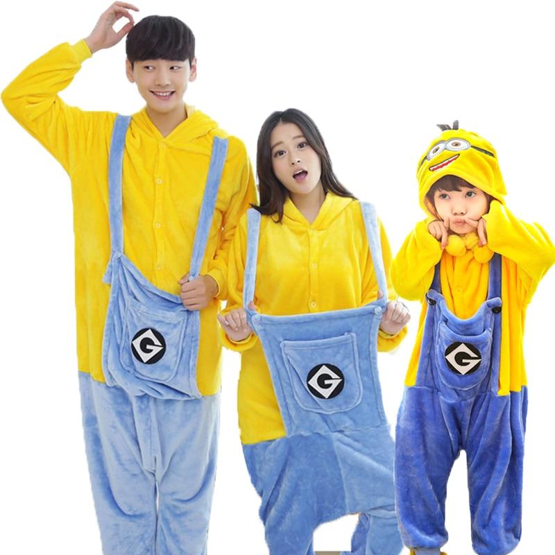 Homewear Adults Children Pajamas Pikaqiu Minions Cosplay Unisex Women Men Pajamas Sets Clothes Family Matching Outfits Sleepwear