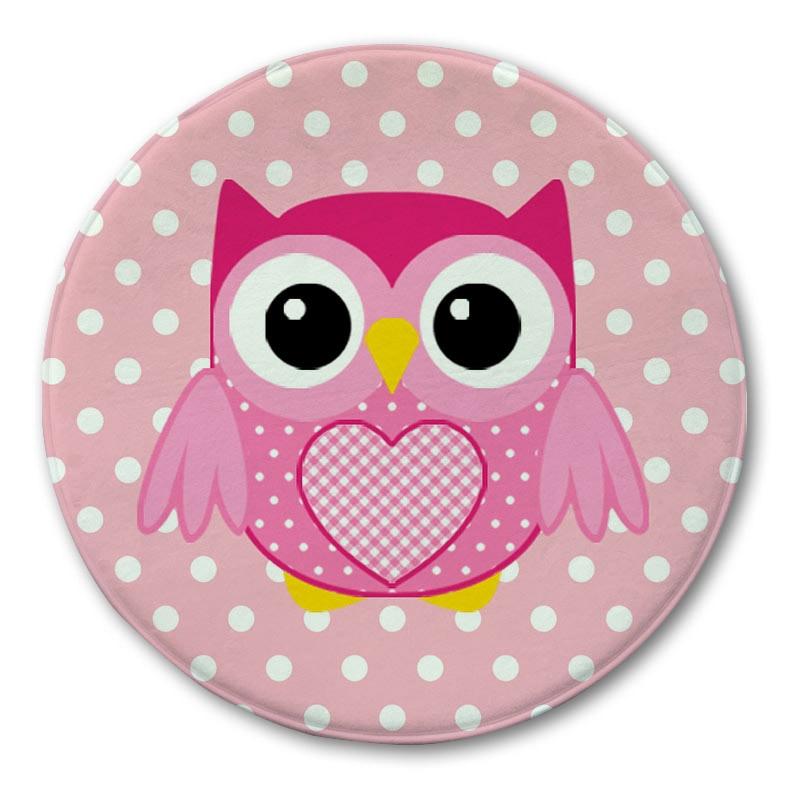 Owl Printed Round Carpet R Doormat Non Slip Rug Cartoon